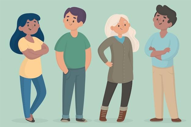 Illustrazione di raccolta di persone sicure Vettore gratuito
