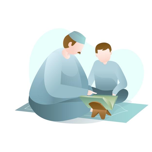 Illustrazione di ramadan con big man che insegna a lettura del corano santo al giovane Vettore Premium