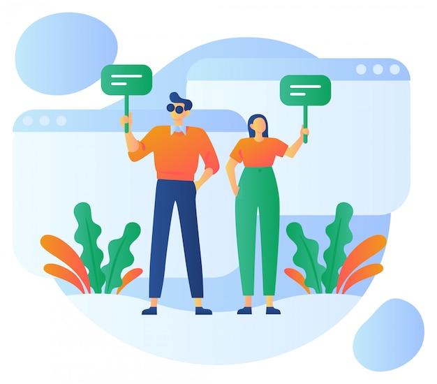 Illustrazione di recensioni dei clienti Vettore Premium