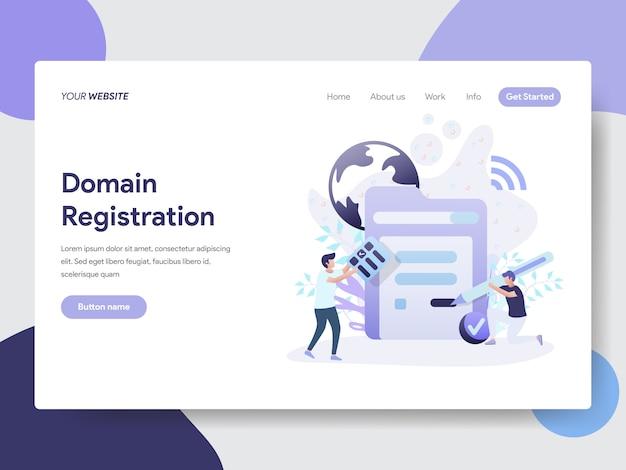 Illustrazione di registrazione del dominio per pagine web Vettore Premium