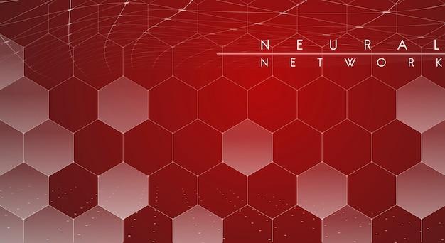 Illustrazione di rete neurale rossa Vettore gratuito