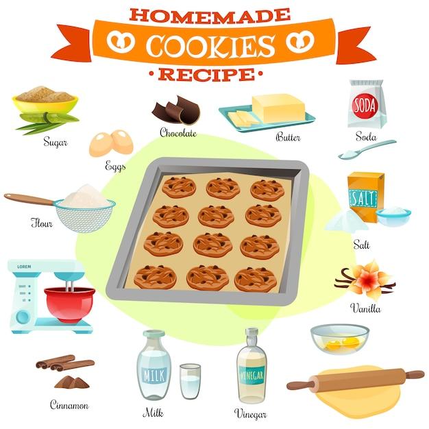 Illustrazione di ricetta di ingredienti di cottura Vettore gratuito
