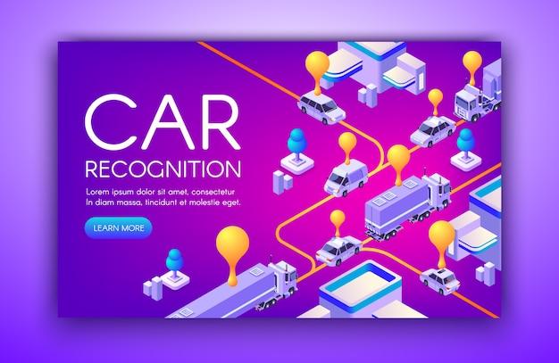Illustrazione di riconoscimento auto delle targhe di immatricolazione del veicolo e tecnologia anpr di rilevamento della velocità Vettore gratuito