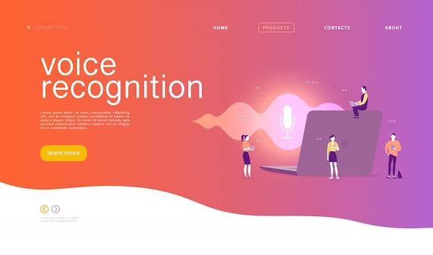 Illustrazione di riconoscimento vocale piatta. design della pagina di destinazione. persone, laptop con onde sonore e icona dinamica del microfono. Vettore Premium