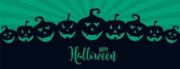 Illustrazione di risata spaventosa di molte zucche di halloween Vettore gratuito
