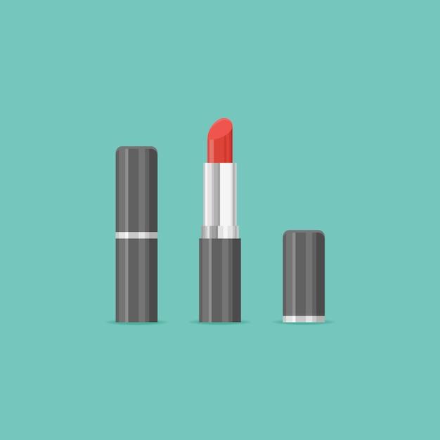 Illustrazione di rossetto rosso chiuso e aperto. Vettore Premium