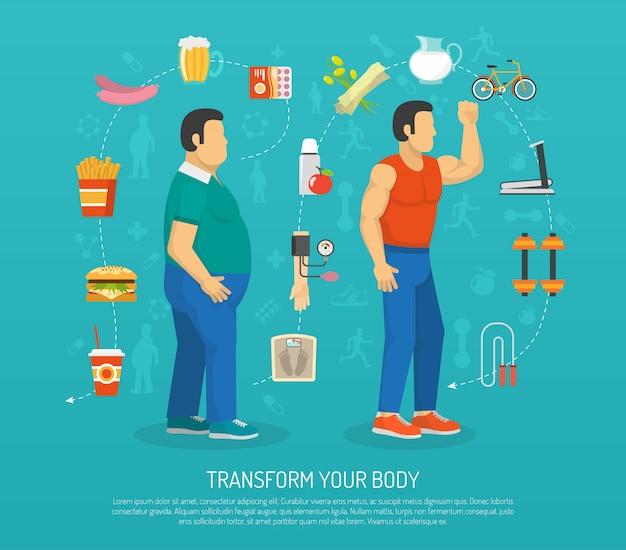 Illustrazione di salute e obesità Vettore gratuito