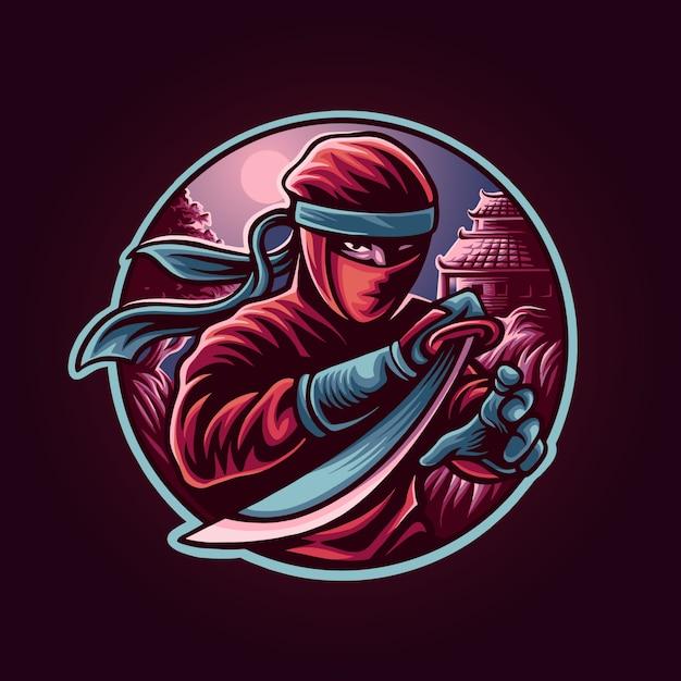Illustrazione di samurai ninja Vettore Premium