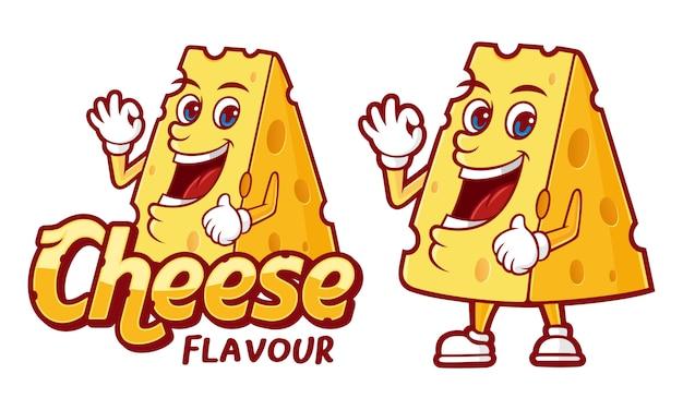 Illustrazione di sapore di formaggio, con carattere divertente per vari prodotti alimentari Vettore Premium