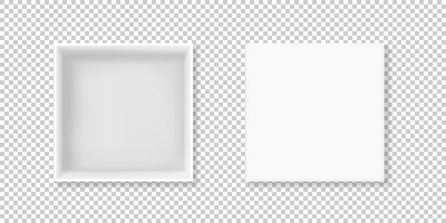 Illustrazione di scatola bianca di realistico 3d cartone o scatola di cartone quadrato vuoto pacchetto Vettore gratuito