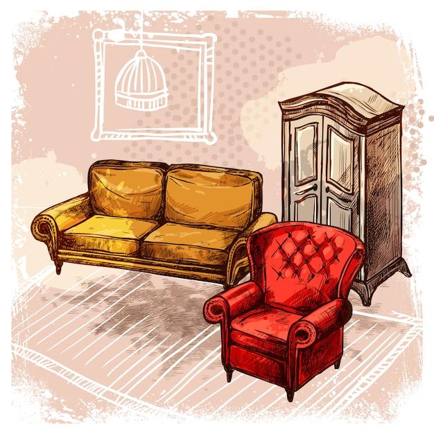 Illustrazione di schizzo di mobili Vettore gratuito