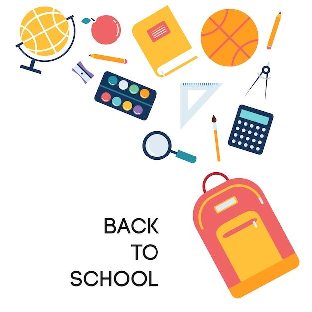 Illustrazione di scuola e sfondo con icone Vettore gratuito
