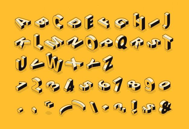 Illustrazione di semitono della fonte delle lettere isometriche della tipografia di alfabeto dell'estratto del fumetto della linea sottile Vettore gratuito