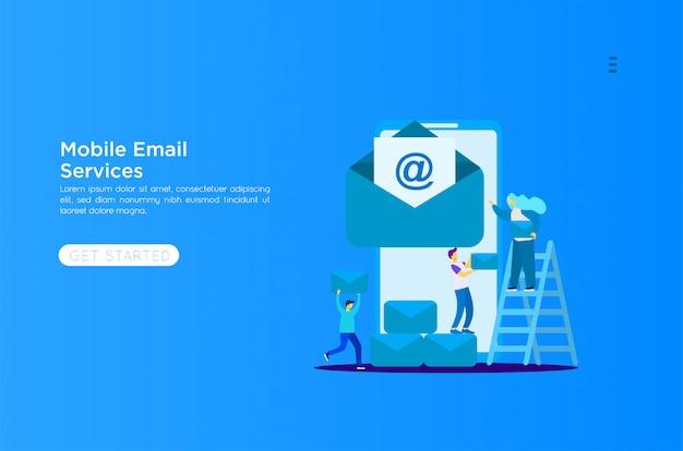 Illustrazione di servizi di posta elettronica Vettore Premium