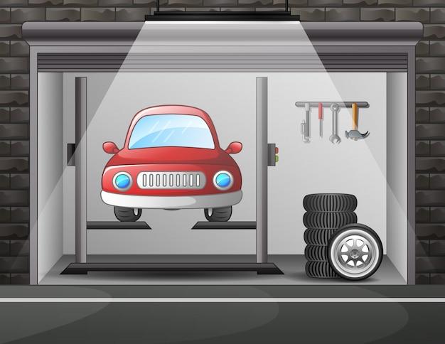 Illustrazione di servizio auto e riparazione Vettore Premium