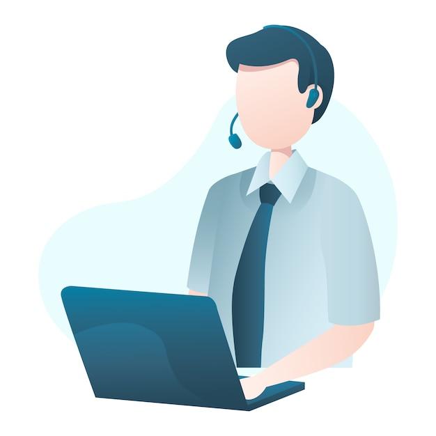 Illustrazione di servizio di cliente con l'uomo che indossa la cuffia e digitando al computer portatile Vettore Premium