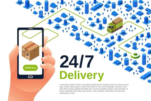 Illustrazione di servizio di consegna del manifesto di spedizione logistica isometrica per la pubblicità Vettore gratuito