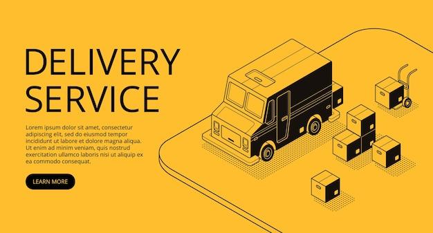Illustrazione di servizio di consegna di arte linea sottile in stile mezzetinte isometrica nero. Vettore gratuito