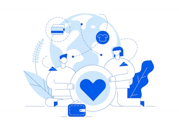 Illustrazione di servizio di donazione di vettore con grandi persone, cuore, terra, volontariato uomo e donna Vettore Premium