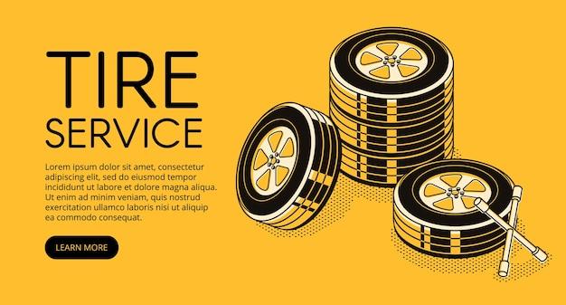 Illustrazione di servizio di pneumatici auto per pubblicità stazione di riparazione automobilistica per il pompaggio Vettore gratuito