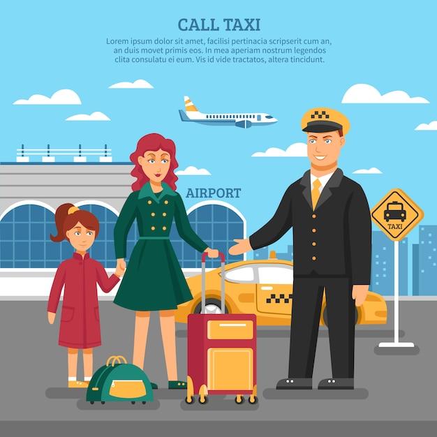 Illustrazione di servizio di taxi Vettore gratuito