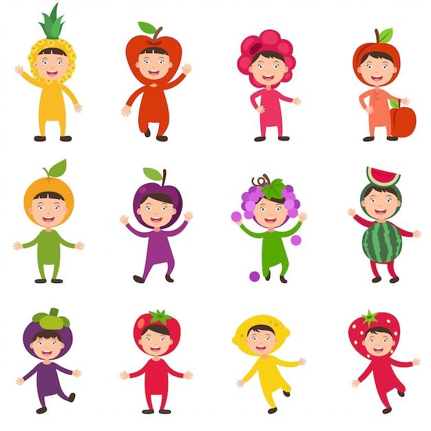 Illustrazione di set isolato costumi frutta bambini su sfondo bianco Vettore Premium