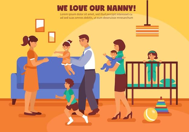 Illustrazione di sfondo babysitter Vettore gratuito