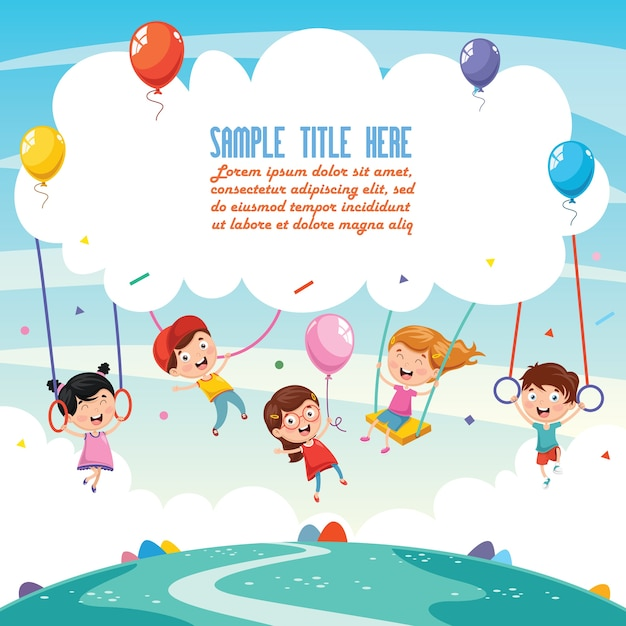 Illustrazione di sfondo bambini Vettore Premium