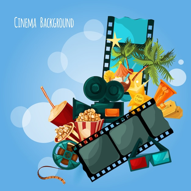 Illustrazione di sfondo del cinema Vettore gratuito