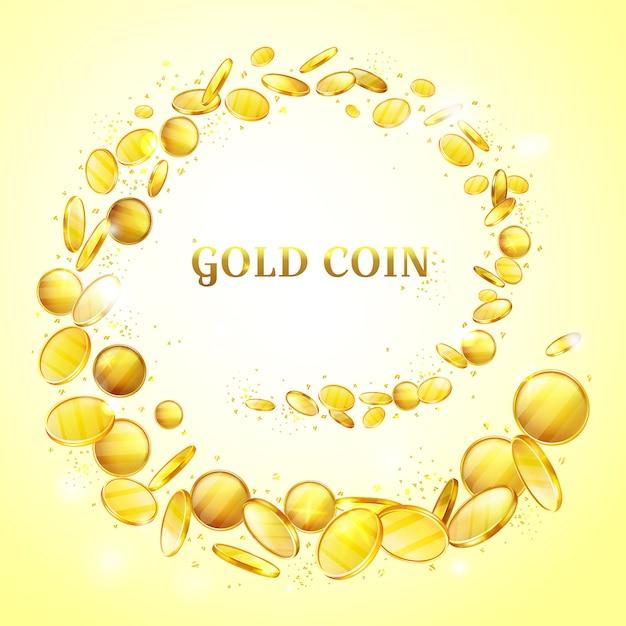 Illustrazione di sfondo di monete d'oro. spruzzi di denaro d'oro o turbo splatter Vettore gratuito