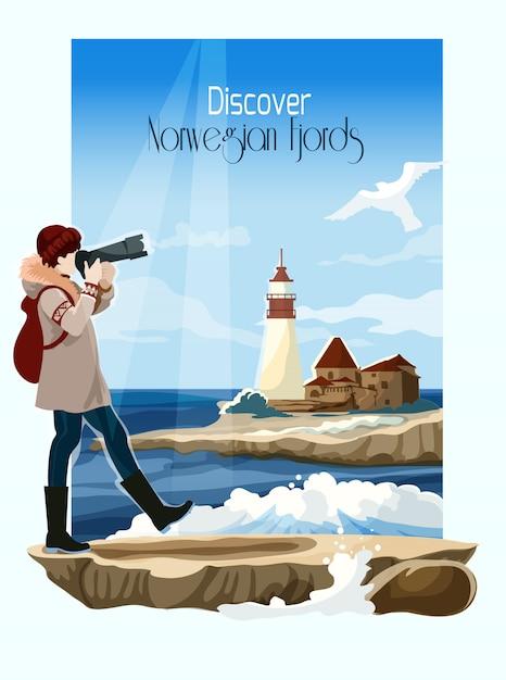 Illustrazione di sfondo paesaggio marino Vettore gratuito
