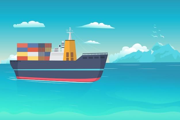 Illustrazione di ship on the ocean Vettore Premium
