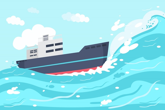 Illustrazione di ship on the ocean Vettore Premium