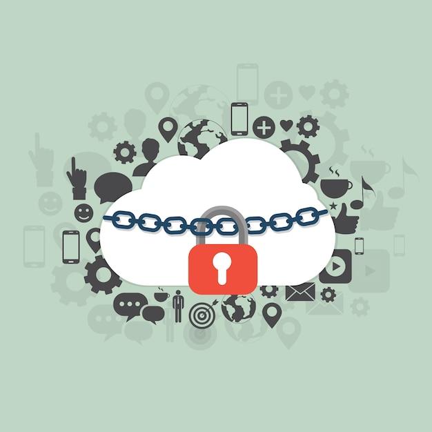 Illustrazione di sicurezza cloud Vettore gratuito