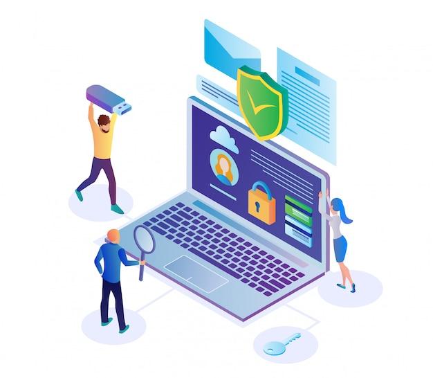 Illustrazione di sicurezza delle informazioni riservate piatta. Vettore Premium