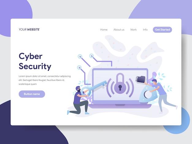 Illustrazione di sicurezza informatica per pagine web Vettore Premium