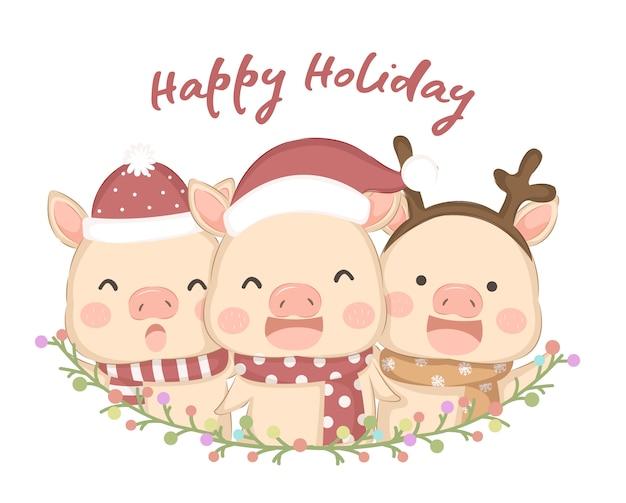 Illustrazione di simpatici animali per le festività natalizie Vettore Premium
