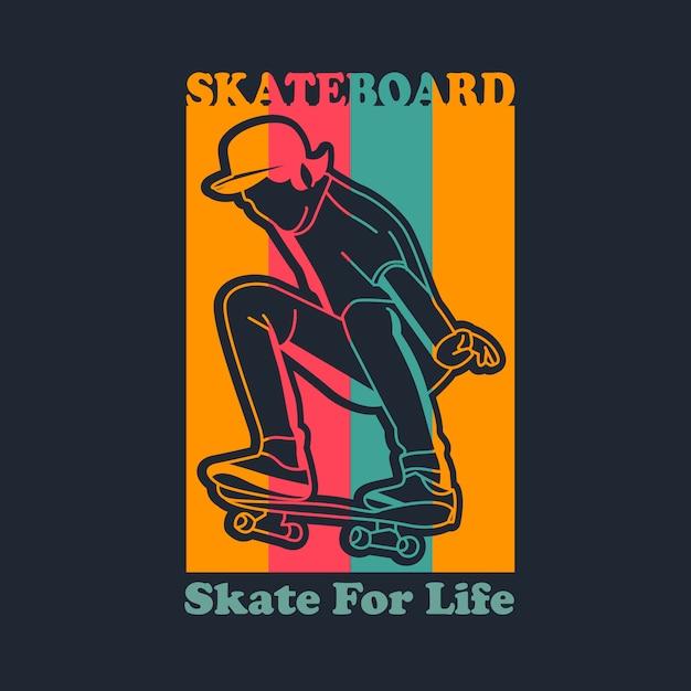 Illustrazione di skateboard vintage Vettore Premium