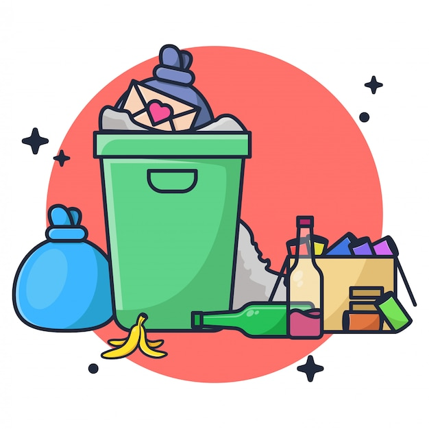 Illustrazione di smaltimento dei rifiuti Vettore Premium