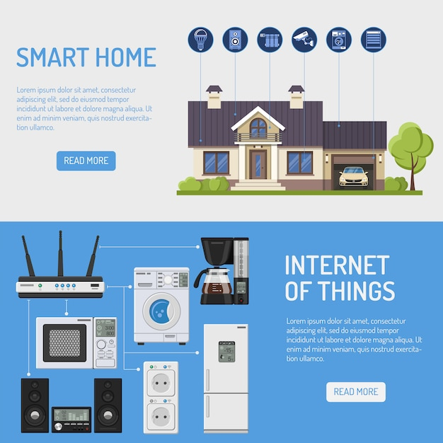 Illustrazione di smart house e internet of things Vettore Premium