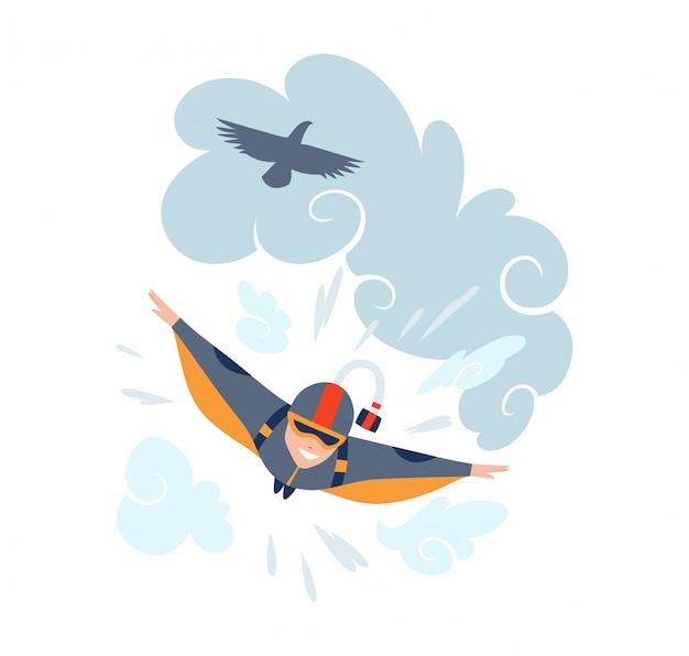 Illustrazione di sport di vettore di paracadutismo. sfondo sport estremi. tuta per paracadutismo Vettore Premium