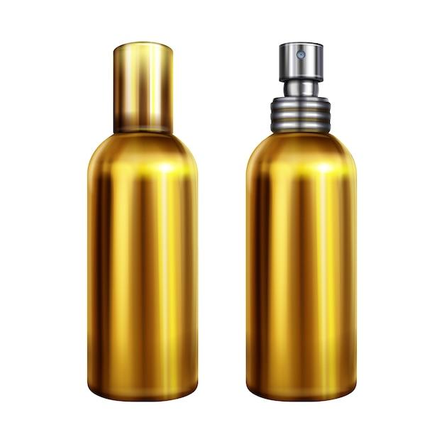 Illustrazione di spruzzo di profumo di bottiglia d'oro metallico o contenitore con tappo spruzzatore d'argento Vettore gratuito