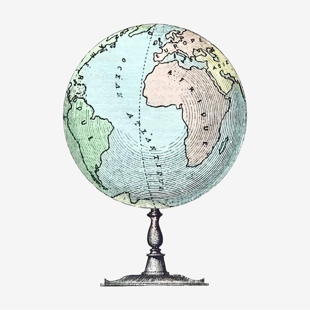 Illustrazione di stand vintage globo Vettore gratuito