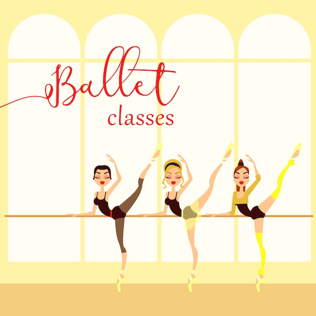 Illustrazione di stile del fumetto delle classi di balletto. ballerina. scuola di danza Vettore Premium