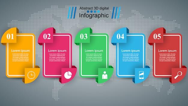Illustrazione di stile di origami di affari infographics Vettore Premium