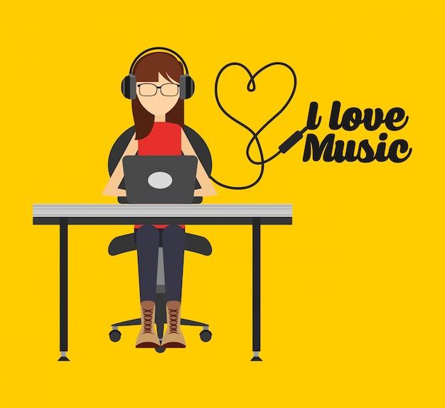 Illustrazione di stile di vita di musica, musica d'ascolto della donna sul pc Vettore gratuito