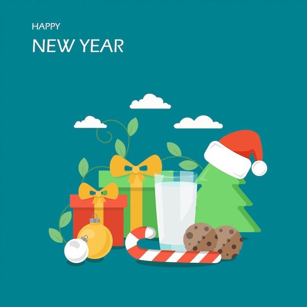 Illustrazione di stile piano di felice anno nuovo Vettore Premium