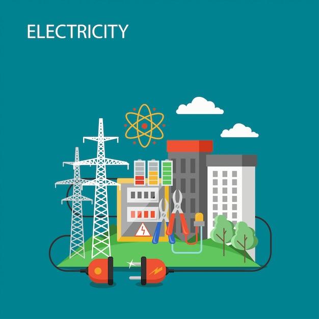 Illustrazione di stile piano di trasmissione di elettricità Vettore Premium