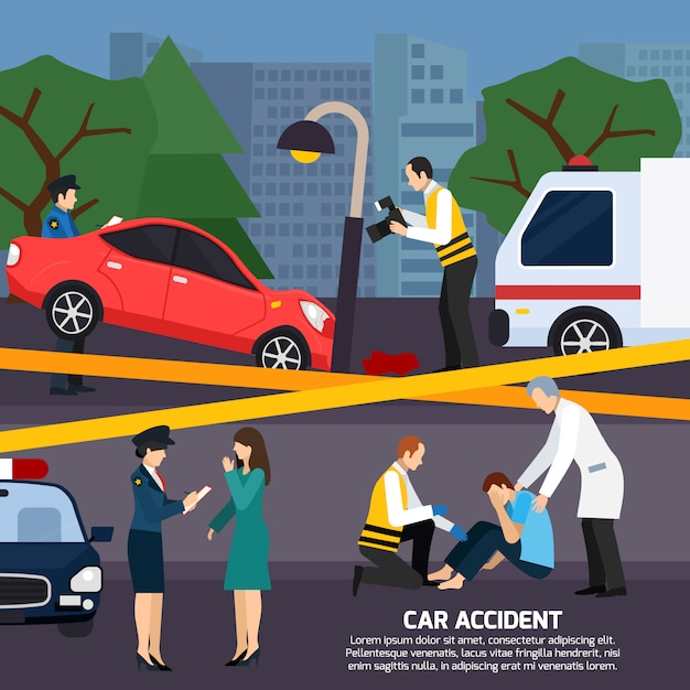 Illustrazione di stile piano incidente d'auto Vettore gratuito