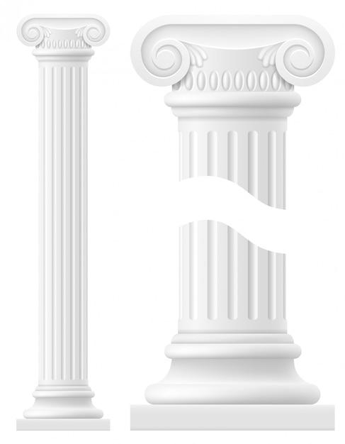 Illustrazione di stock di stock di colonna antica Vettore Premium